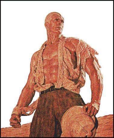 muscular man in a torn shirt